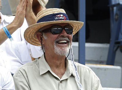 Actor Sean Connery watches from the gallery at the U.S. Open tennis tournament in New York September 6, 2012. REUTERS/Mike Segar