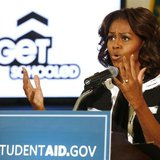 First lady Michelle Obama delivers remarks at a Free Application for Federal Student Aid Workshop at T.C. Williams High School-King Street C