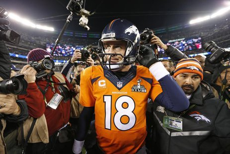 Denver Broncos quarterback Peyton Manning leaves field after being defeated by the Seattle Seahawks in the NFL Super Bowl XLVIII football ga