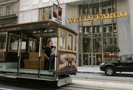 A cable car passes a Wells Fargo bank building along California Street in San Francisco, California October 7, 2008. REUTERS/Robert Galbrait