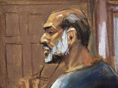 An artist sketch shows Suleiman Abu Ghaith, a militant who appeared in videos as a spokesman for al Qaeda after the September 11, 2001 attac
