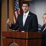 Senate Budget Committee chairman Senator Patty Murray (D-WA) (R) and House Budget Committee chairman Representative Paul Ryan (R-WI) hold a
