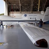 The Global Hawk is pictured at the aircraft hangar of NASA's Wallops Flight Facility in Wallops Island, Virginia on September 7, 2012, relea
