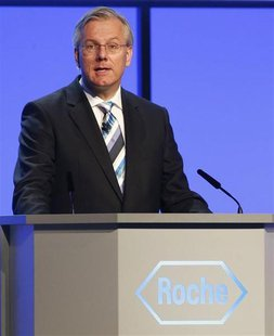 Swiss pharmaceutical company Roche new elected chairman Christoph Franz speaks to shareholders during the annual general meeting in Basel Ma