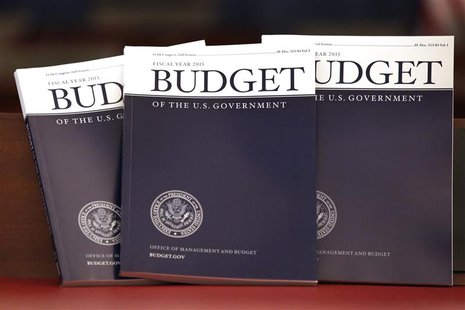 Copies of U.S. President Barack Obama's Fiscal Year 2015 Budget are delivered to The House Budget Committee on Capitol Hill in Washington, M