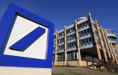 The Deutsche Bank logo is seen outside a building in Luxembourg, September 10, 2013. Picture taken September 10, 2013. REUTERS/Yves Herman