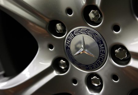The emblem of German car Mercedes-Benz is pictured on the wheel rim of a Mercedes-Benz S-class at the plant in Sindelfingen near StuttgartJa
