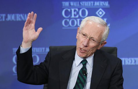 Former Bank of Israel Governor Stanley Fischer answers a question during the Wall Street Journal's CEO Council annual meeting in Washington,