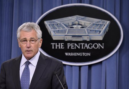U.S. Secretary of Defense Chuck Hagel makes remarks to the press on looming budget cuts at the Pentagon, Arlington, Virginia, February 24, 2