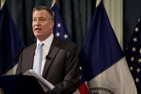 New York Mayor Bill de Blasio delivers the budget address at City Hall in New York February 12, 2014 file photo. REUTERS/Craig Ruttle/Pool