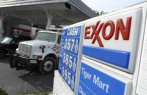 An Exxon gas station is pictured in Arlington, Virginia in this file photo taken January 31, 2012. REUTERS/Jason Reed/Files