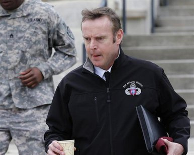 Brigadier General Jeffrey Sinclair leaves the courthouse for the day at Ft. Bragg in Fayetteville, North Carolina March 5, 2014. REUTERS/Ell