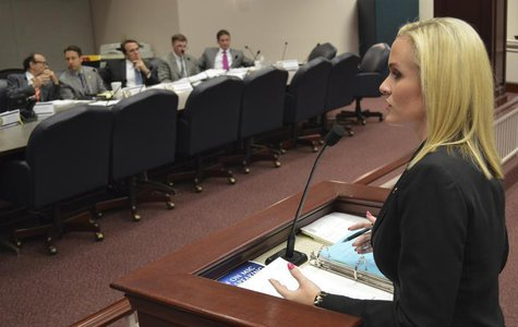 Florida state representative Katie Edwards (D), speaks to the House Criminal Justice Committee in support of a bill to legalize the use of a