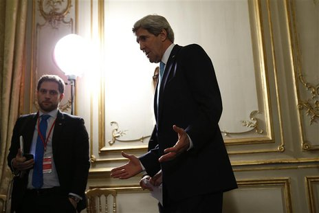 U.S. Secretary of State John Kerry answers questions about the Ukraine crisis after his meetings with other foreign ministers in Paris, Marc