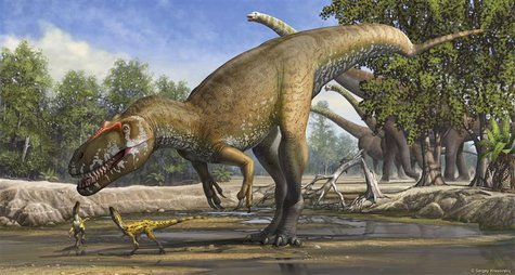 A Torvosaurus gurneyi dinosaur is seen in an undated artist's rendering released March 5, 2014. REUTERS/Sergey Krasovskiy/Handout via Reuter