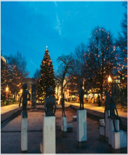 Bronson Park is owned by the County but leased to the City, which pays to maintain it and decorate it every Christmas.