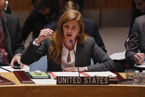 U.S. Ambassador to the United Nations Samantha Power speaks during a Security Council meeting on the crisis in Ukraine, at the U.N. headquar