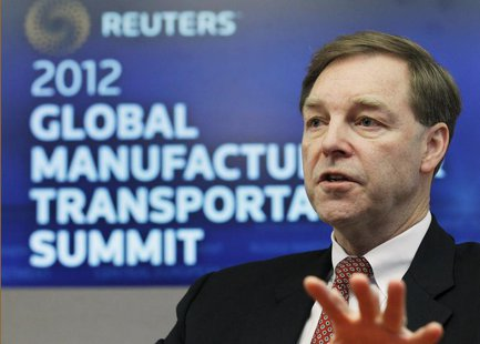Stuart Levenick, group president of Caterpillar, speaks at the Reuters Manufacturing and Transportation Summit in New York, December 12, 201