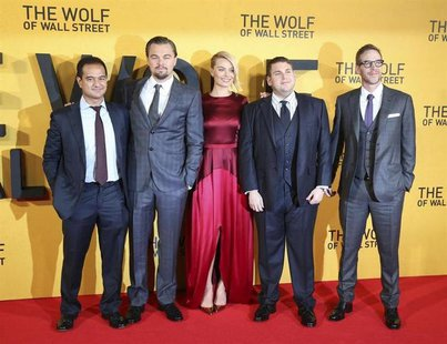 Producer Riza Aziz (L-R), cast members Leonardo DiCaprio, Margot Robbie, Jonah Hill and producer Joey McFarland arrive for the U.K. Premiere