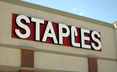 The sign outside of the Staples store is pictured in Broomfield, Colorado August 17, 2011 as the back-to-school shopping season begins. REUT