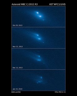 This series of Hubble Space Telescope images reveals the breakup of an asteroid over a period of several months in late 2013. Scientists sai