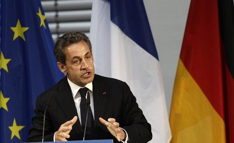 Former French President Nicolas Sarkozy gesture during his speech at an event hosted by the Konrad-Adenauer foundation in Berlin February 28