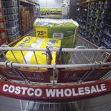 A Costco shopping cart is shown at a Costco Wholesale store in Carlsbad, California in this file photo taken September 11, 2013. REUTERS/Mik