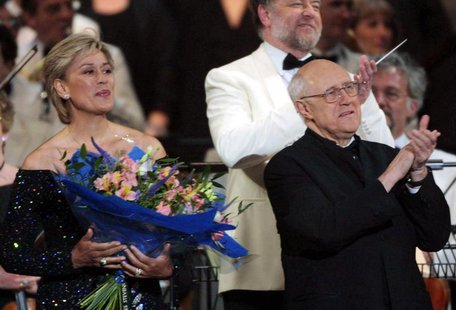 "Dame Kiri Te Kanawa, (L) and Mstislav Rostropovich on stage at the end of the ""Prom At The Palace"" concert in the grounds of London's Buckin"