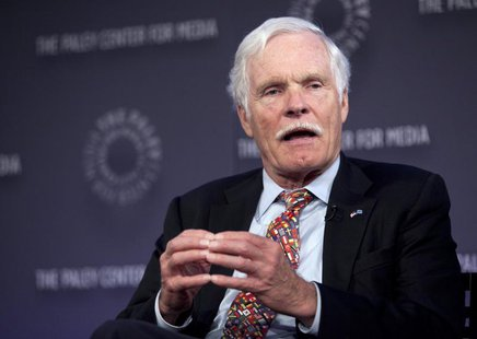 "Ted Turner, founder of CNN, speaks on a panel after the screening of ""Cold War"", a documentary chronicling the events that fuelled the war b"
