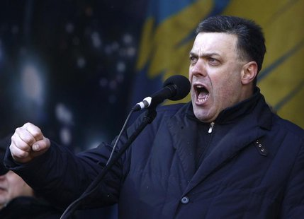 Ukrainian opposition leader Oleh Tyahnybok addresses anti-government protesters during a rally in central Kiev, February 2, 2014. REUTERS/Da
