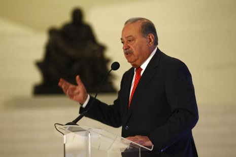 Mexican billionaire Carlos Slim speaks during the presentation of a digital platform, which was created in partnership with the Carlos Slim