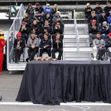 Drivers listen to instructions during the drivers meeting for the Indianapolis 500 at the Indianapolis Motor Speedway in Indianapolis, India