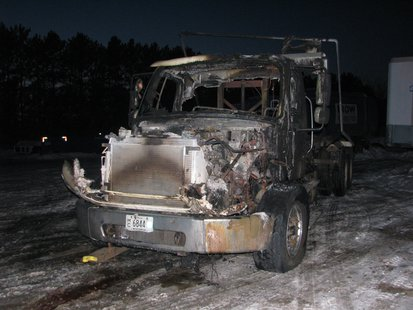 Burned truck at IROW in Mosinee