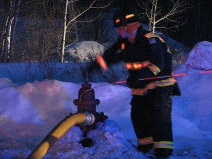Fireman closing hydrant