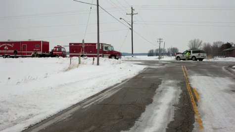 The Green Bay Fire Department and Brown County's Hazardous Material Response Team at the scene of a chlorine leak on Finger Rd. in Green Bay on Friday, March 7, 2014. (Photo from: FOX 11.)