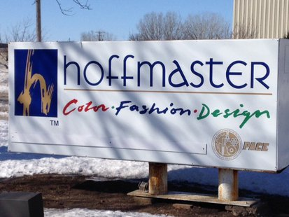 A sign at Hoffmaster's headquarters in Oshkosh is seen, Feb. 27, 2014. (Photo from: FOX 11).