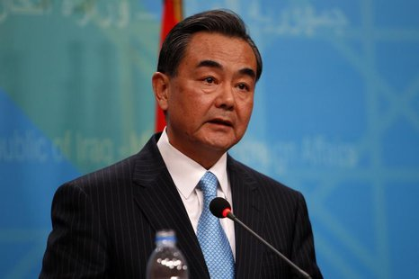Chinese Foreign Minister Wang Yi speaks during a joint news conference with Iraq's Foreign Minister Hoshiyar Zebari in Baghdad, February 23,