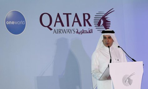 Chief Executive of Qatar Airways Akbar al-Baker announces the airline's participation in the oneworld program, at the Hamad International ai