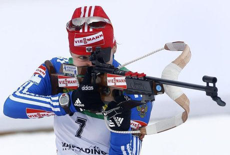 Russia's Ekaterina Iourieva shoots during the women's 10 kilometres pursuit race at the Biathlon World Cup in the southern Bavarian resort o