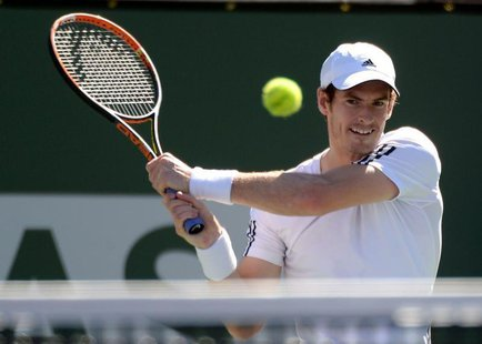 Mar 8, 2014; Indian Wells, CA, USA; Andy Murray (GBR) during his match against Lukas Rosol (CZE) during the BNP Paribas Open at the Indian W