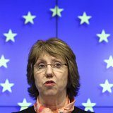EU foreign policy chief Catherine Ashton holds a news conference after a European Union emergency foreign ministers meeting on the situation