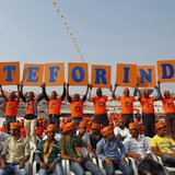Supporters of Gujarat's chief minister and Hindu nationalist Narendra Modi, the prime ministerial candidate for India's main opposition Bhar