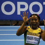 Jamaica's Shelly-Ann Fraser-Pryce celebrates after winning the women's 60m final in the world indoor athletics championships at the ERGO Are