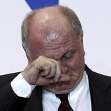 File photo of Bayern Munich's President Uli Hoeness reacting during an annual meeting of the German Bundesliga first division soccer club in