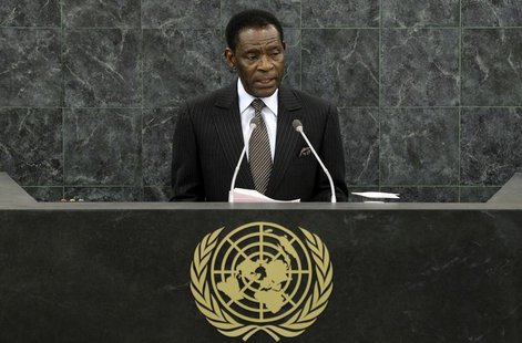 Teodoro Obiang Nguema Mbasogo, the President of Equatorial Guinea, addresses the 68th United Nations General Assembly at U.N. headquarters i