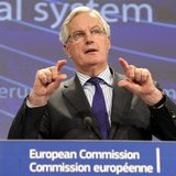 European Commissioner for Internal Market and Services Michel Barnier holds a news conference on the restructuring of the bank at the Europe