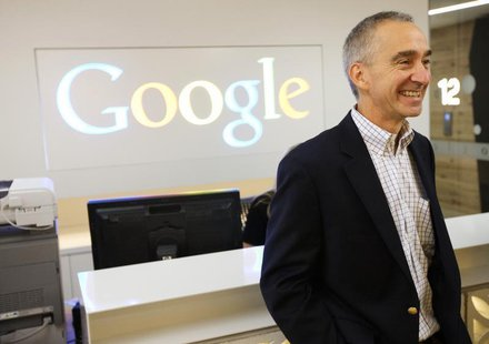 Google Senior Vice President and Chief Financial Officer Patrick Pichette smiles in the new Google office in Toronto, November 13, 2012. REU