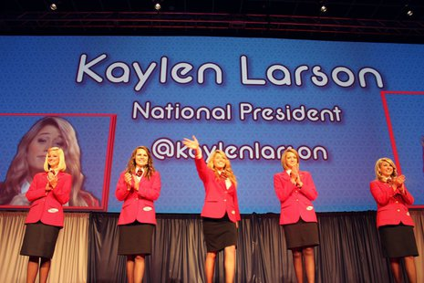Larson (center) served as the national president for Family, Career and Community Leaders of America from 2011 to 2012.