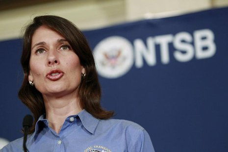 National Transportation Safety Board (NTSB) Chairwoman Deborah Hersman speaks during a news conference in south San Francisco, California, J