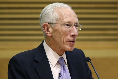 Former Bank of Israel Governor Stanley Fischer delivers remarks during a panel discussion on financial crises at the International Monetary